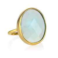 Margaret Elizabeth Faceted Cocktail Ring in Aqua Chalcedony