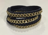 Urban Gem Chained Leather Wrap Bracelet in Gold