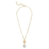 Ashiana London Hammered Gold Moonstone Drop Necklace
