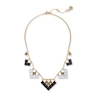 Trina Turk Enamel Mosaic Collar NK in Black & White