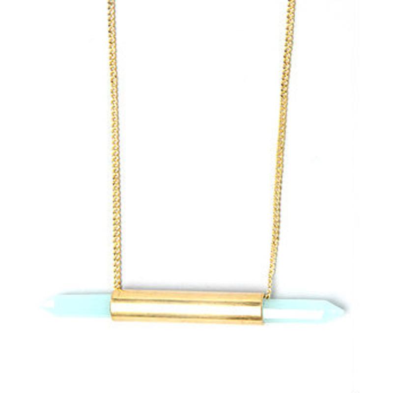 Serefina Healing Crystal Necklace in Aqua