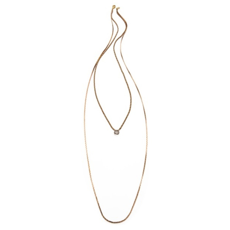 Serefina Lone Gem Layering Necklace in Mystic Quartz