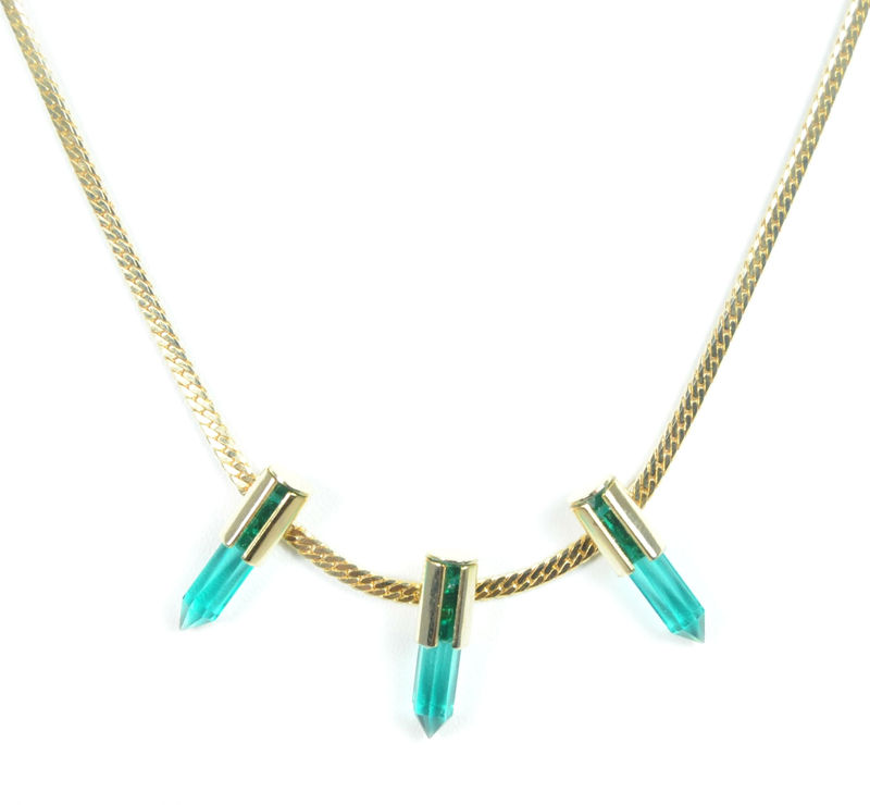 Serefina Dagger Station Necklace in Emerald