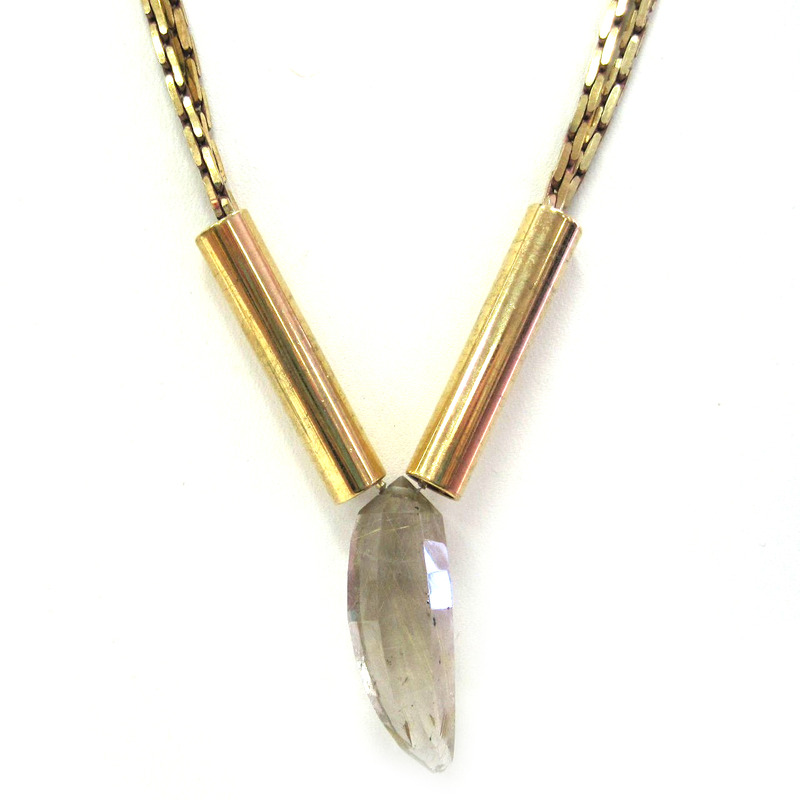 Serefina Lone Crystal Sanctuary Necklace in Golden