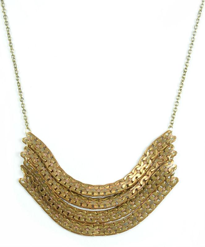 Serefina Waves Necklace in Brass