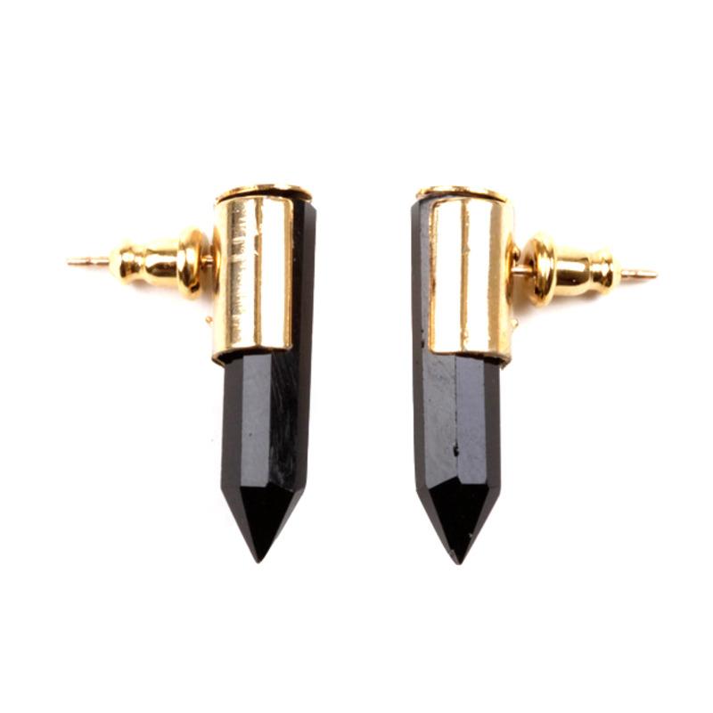 Serefina Crystal Dagger Studs in Black Onyx