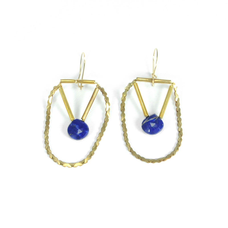 Serefina Lapis and Gold Earrings