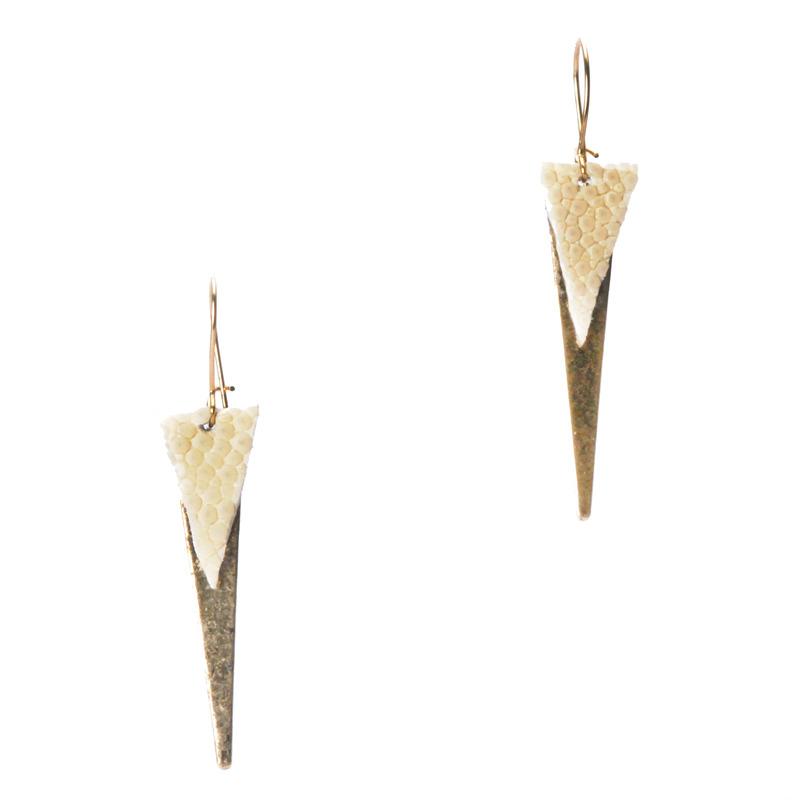Serefina Spike Zemi Earrings in Bone