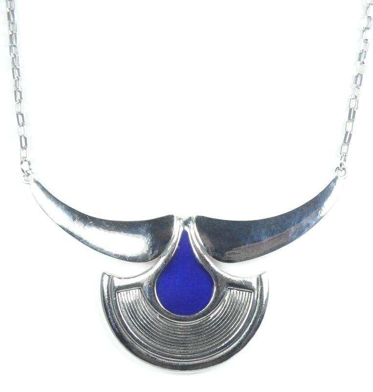 Viento Condor Necklace in Rhodium and Blue