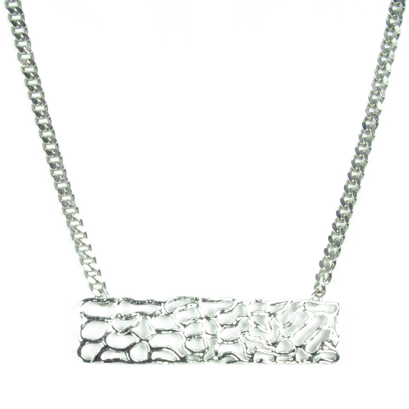 Viento Driftwood Necklace in Rhodium