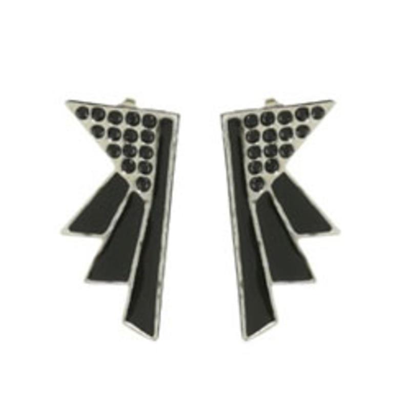 Viento Art Deco Earrings in Rhodium and Black