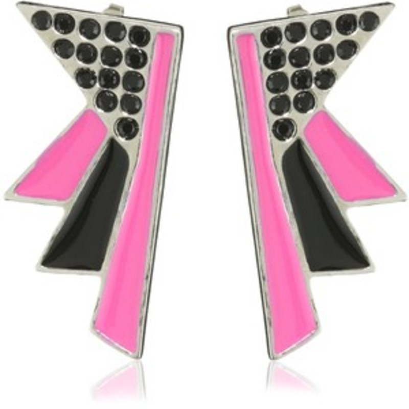 Viento Art Deco Earrings in Rhodium, Black, and Fuchsia