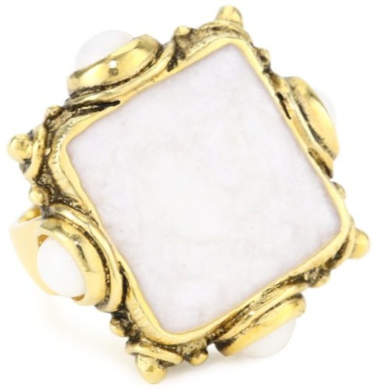 Viento Poppy Ring in Gold and White