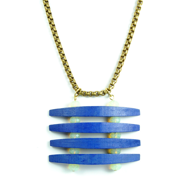 David Aubrey Wood and Glass Pendant Necklace in Blue and White