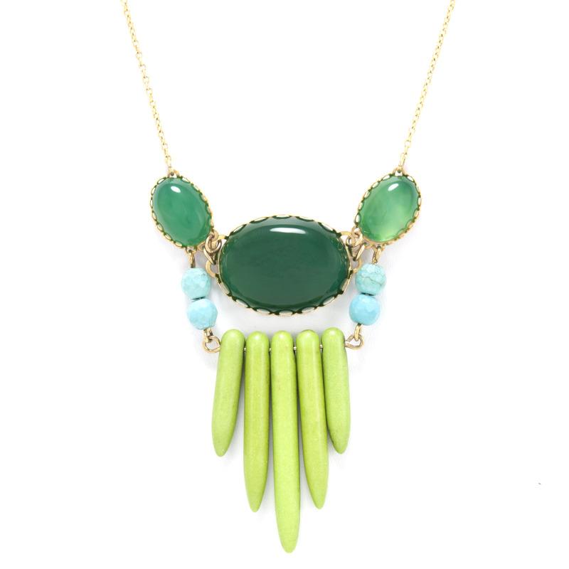 David Aubrey Multi-Stone Pendant Necklace in Green
