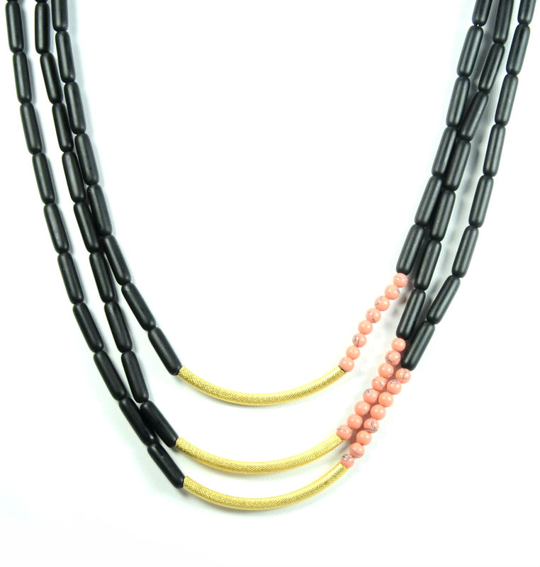 David Aubrey Triple Strand Beaded Necklace in Pink, Gold, and Black