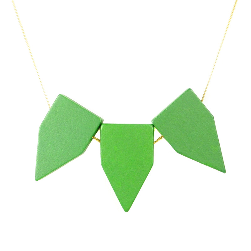 David Aubrey Wood Triple Pendant Necklace