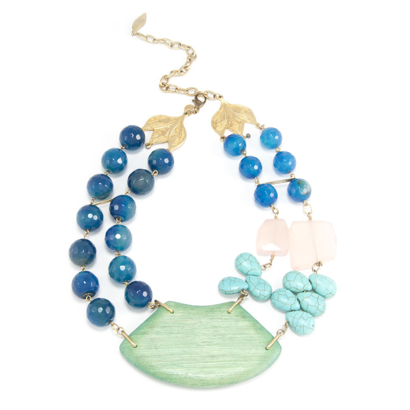 David Aubrey Multi-Strand Multi-Stone Beaded Necklace
