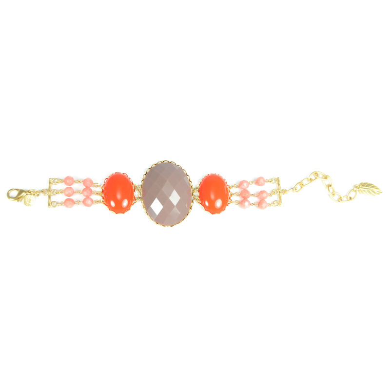 David Aubrey Multi-Stone Bracelet in Brown, Red, and Pink