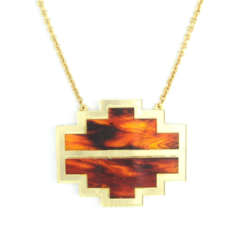 Sandy Hyun Double Deco Wood on Gold Necklace