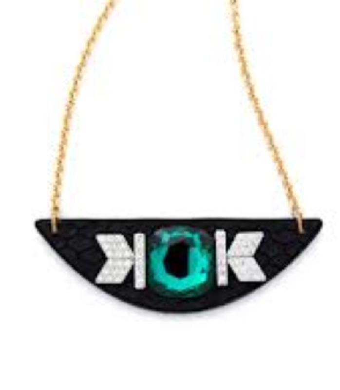 Sandy Hyun Black and Emerald on Half Circle Necklace
