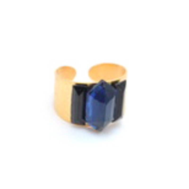 Sandy Hyun Triple Blue Gem Ring