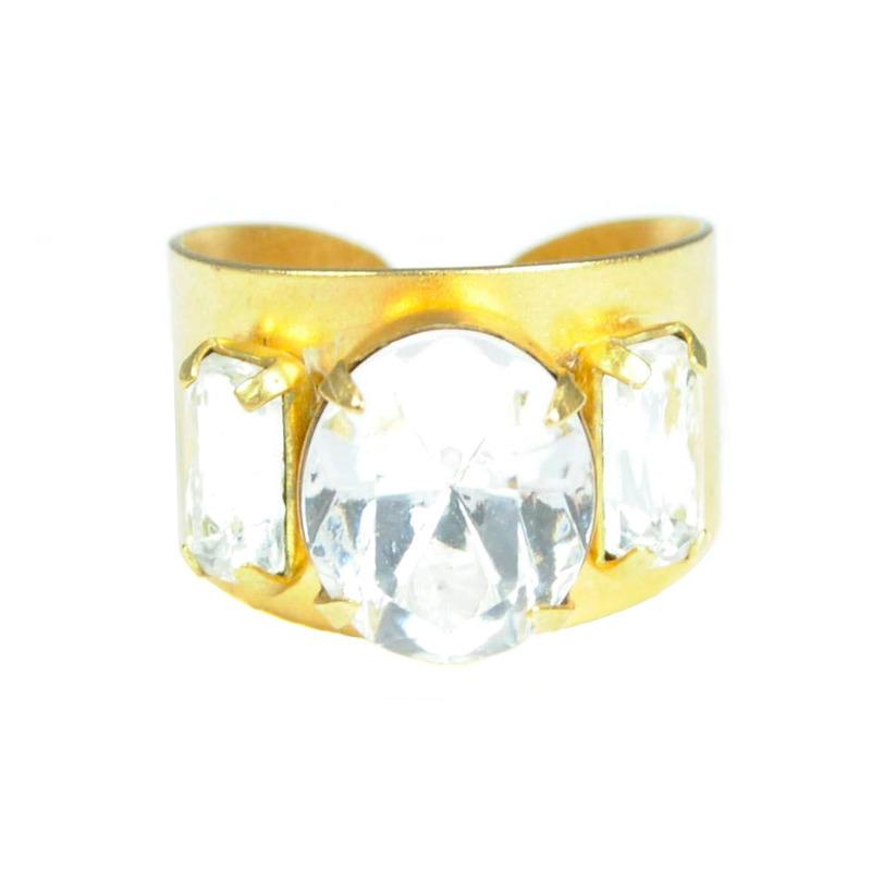 Sandy Hyun Triple Clear Gem Ring