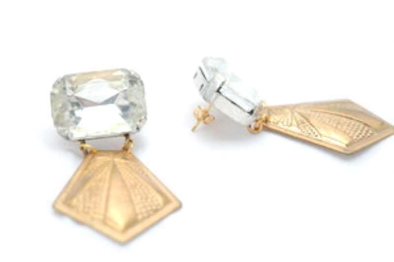 Sandy Hyun Pressed Golden Starburst and Gem Earrings