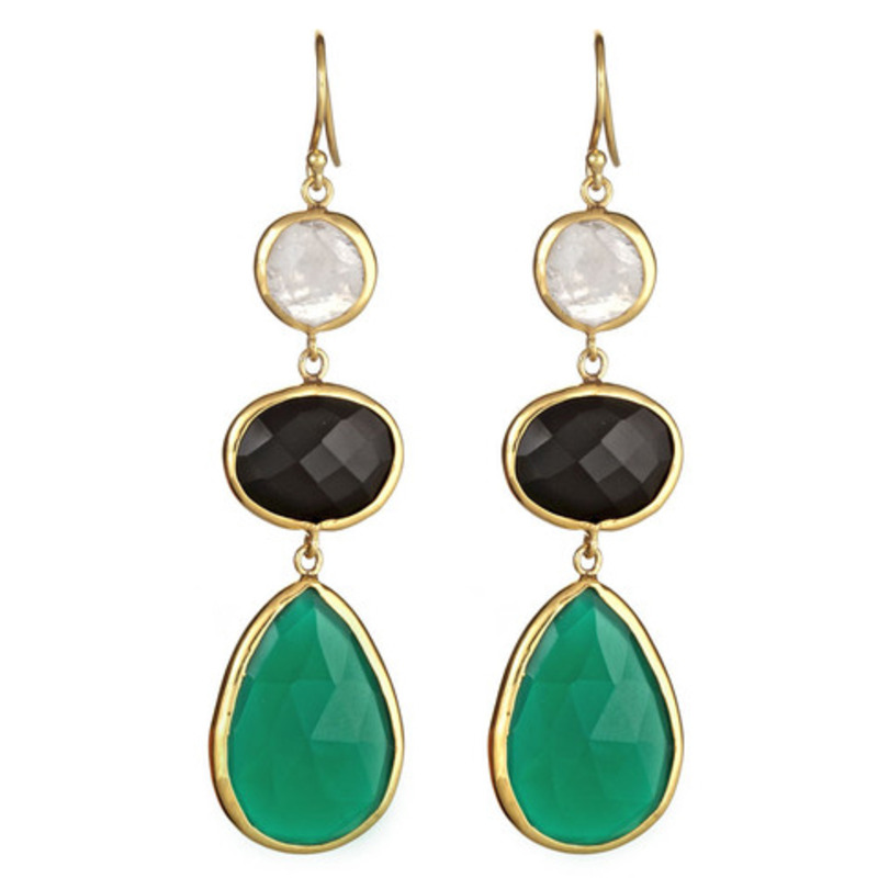 Margaret Elizabeth Three Stone Drops in Black and Green Onyx