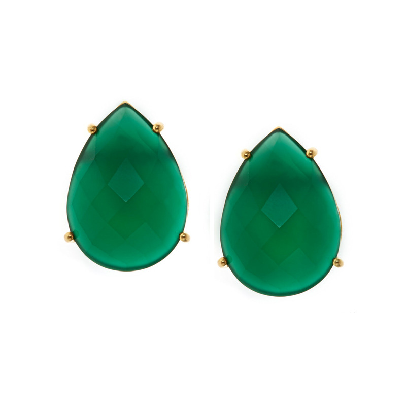 Margaret Elizabeth Teardrop Studs in Green Onyx