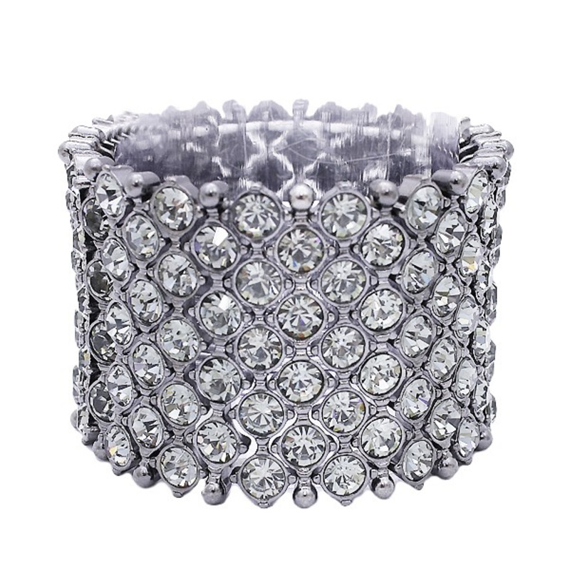 Urban Gem Stacked Rhinestone Cuff in Gunmetal