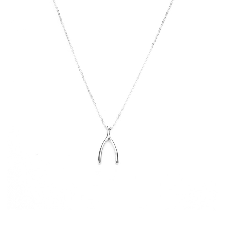 Urban Gem Wishbone Necklace in Silver