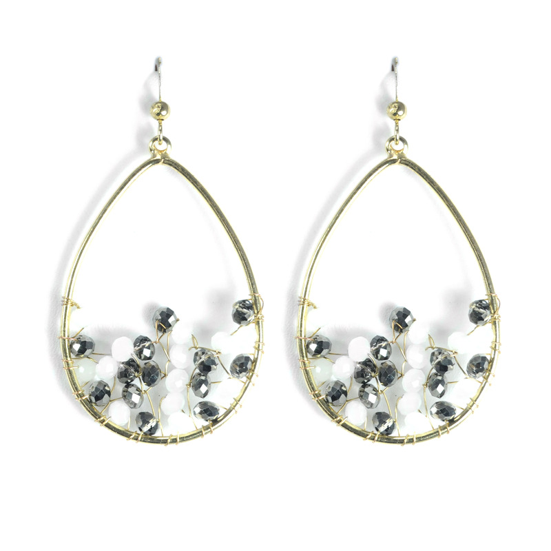 Urban Gem Gold Teardrop Earrings with Shades of White