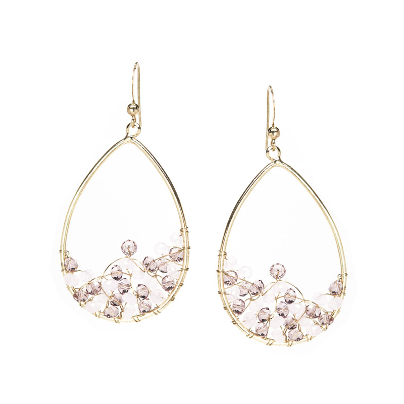 Urban Gem Gold Teardrop Earrings with Shades of Pink
