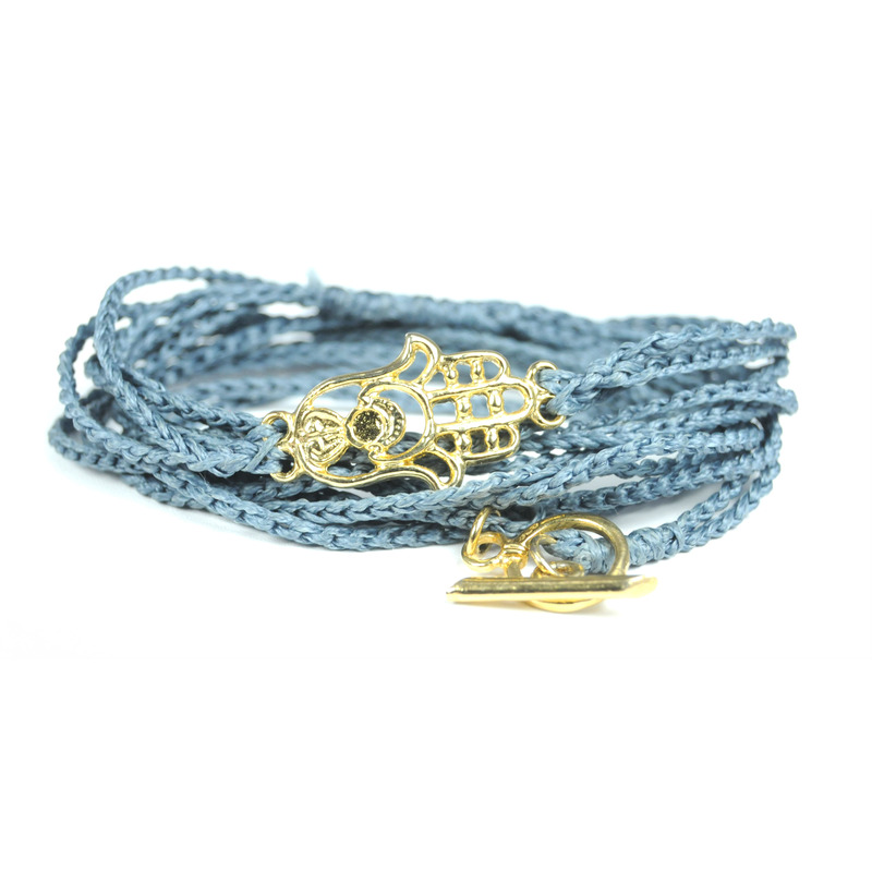 Urban Gem Blue Braided Silke Wrap with Hamsa Charm