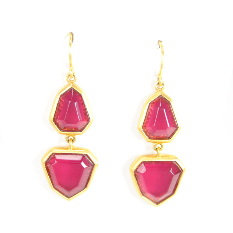 Lucas Jack Two-stone Geometric Drop Earrings in Burgundy