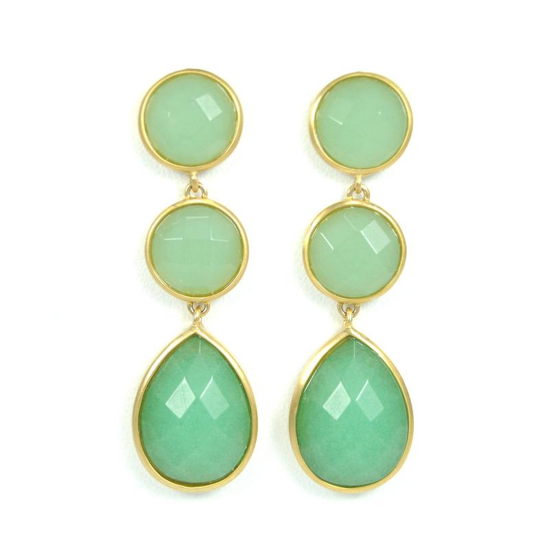 Lucas Jack Triple Drop Earrings in Green