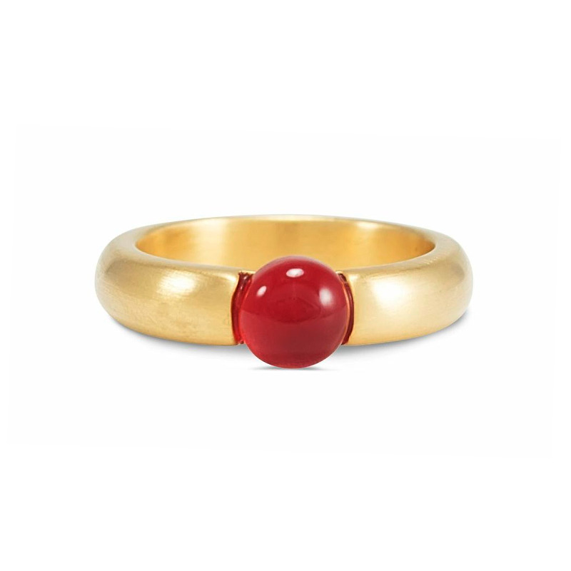 Lucas Jack Small Embedded Burgundy Stone Ring