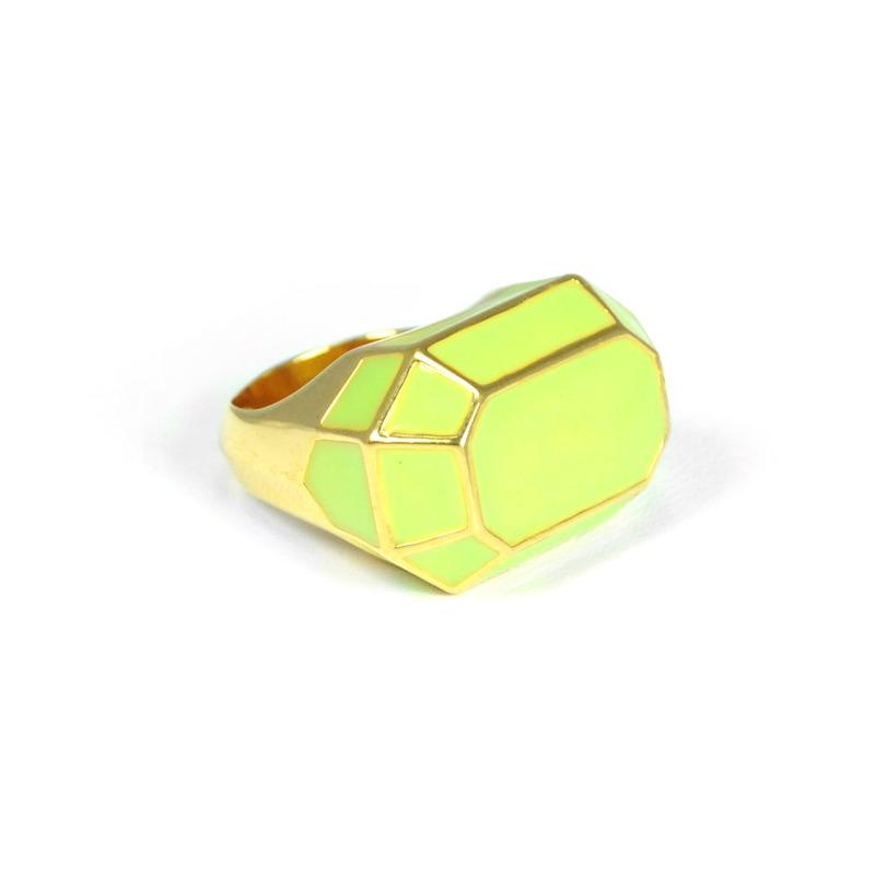 Lucas Jack Structural Faceted Enamel Ring in Light Green