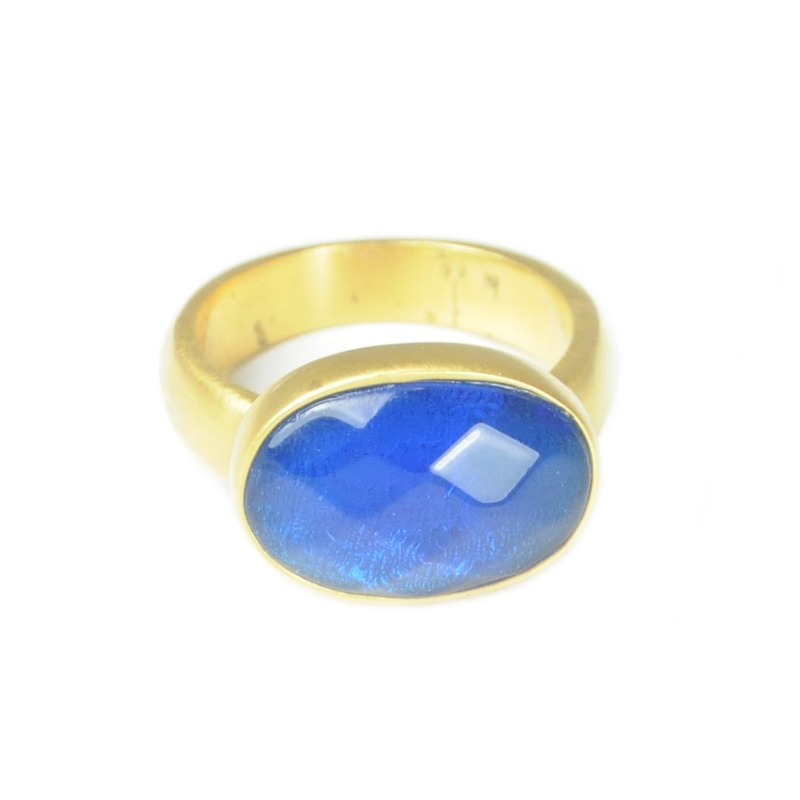 Lucas Jack Simple Large Oval Ring in Blue