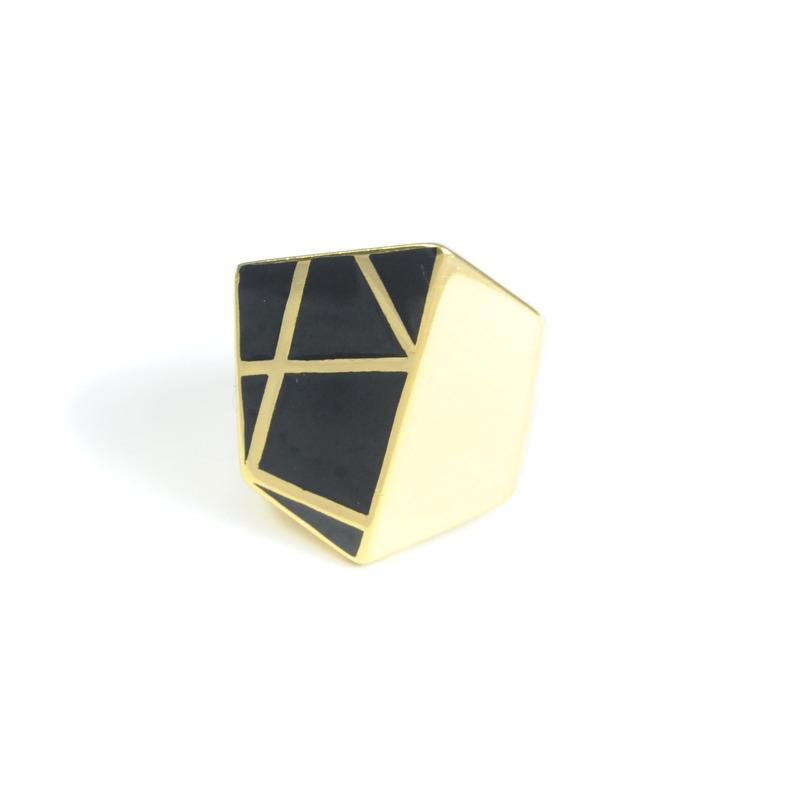 Lucas Jack Chunky Geometric Ring in Black