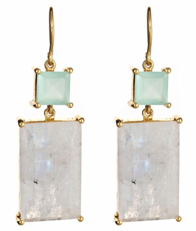 Margaret Elizabeth Emerald Cut Two Stone Drop Earrings in Aqua and Moonstone