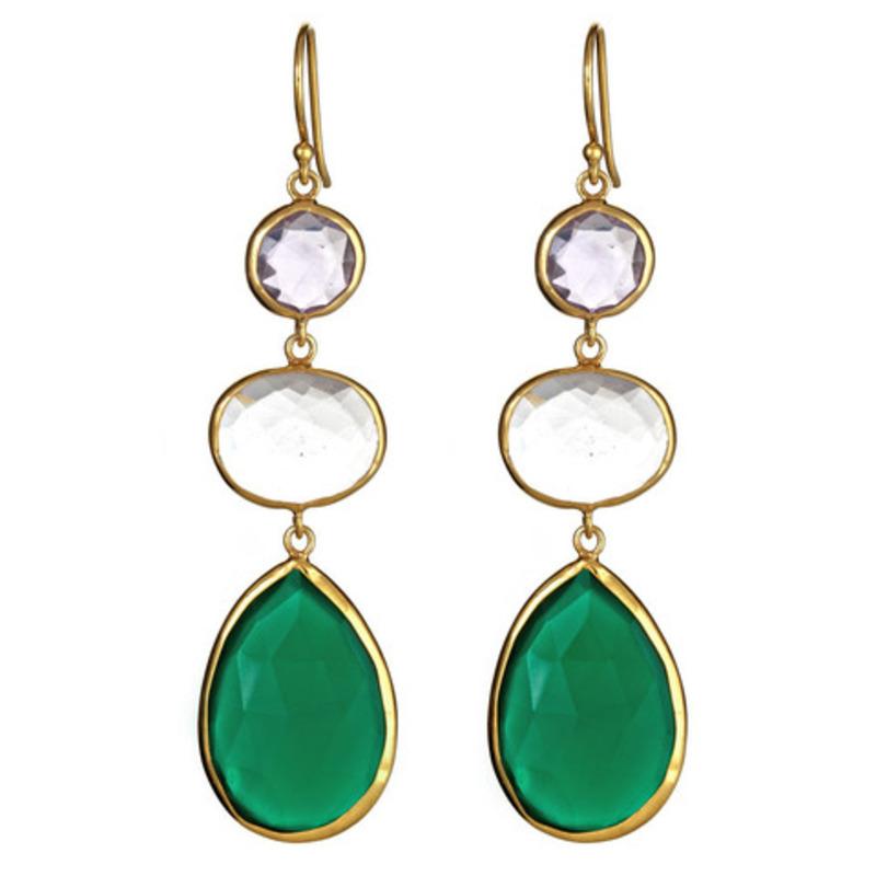 Margaret Elizabeth Three Stone Drops in Amethyst and Green Onyx