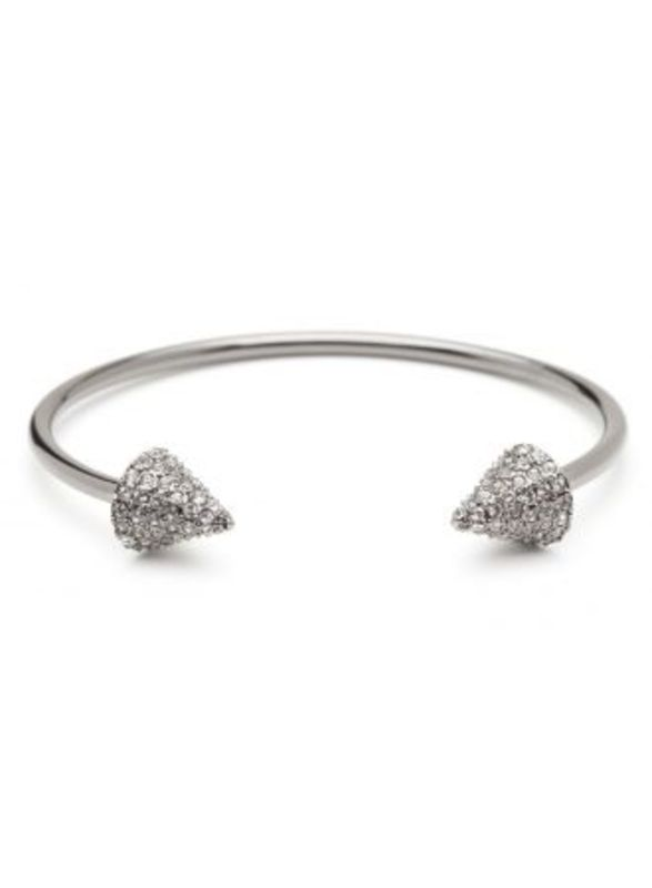 CC Skye Double Header Pavé Spike Bracelet in Silver