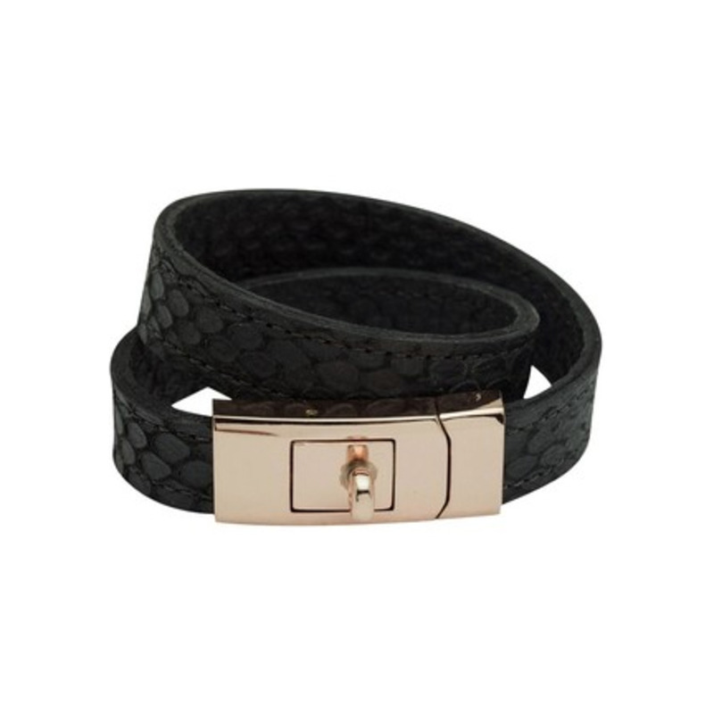 CC Skye Double Wrap Portico Bracelet in Rose Gold and Black Python