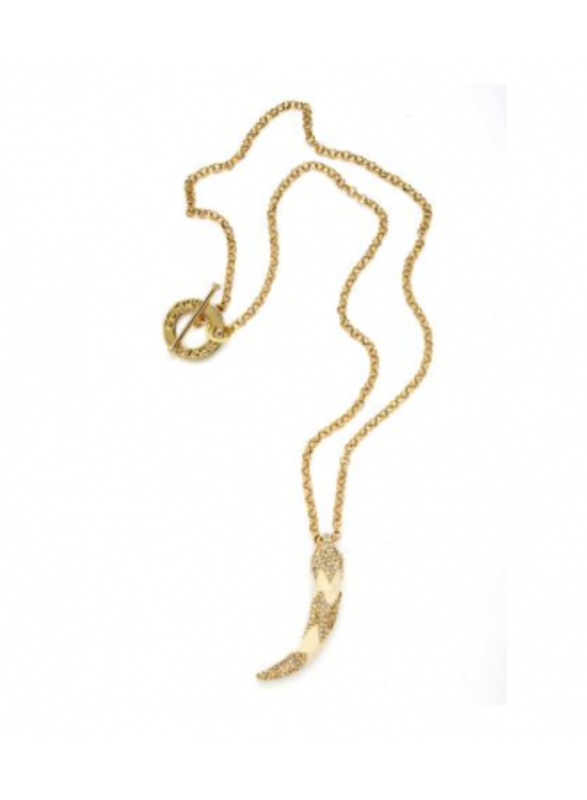 CC Skye Save The Elephants Pave Tusk Necklace in Cream