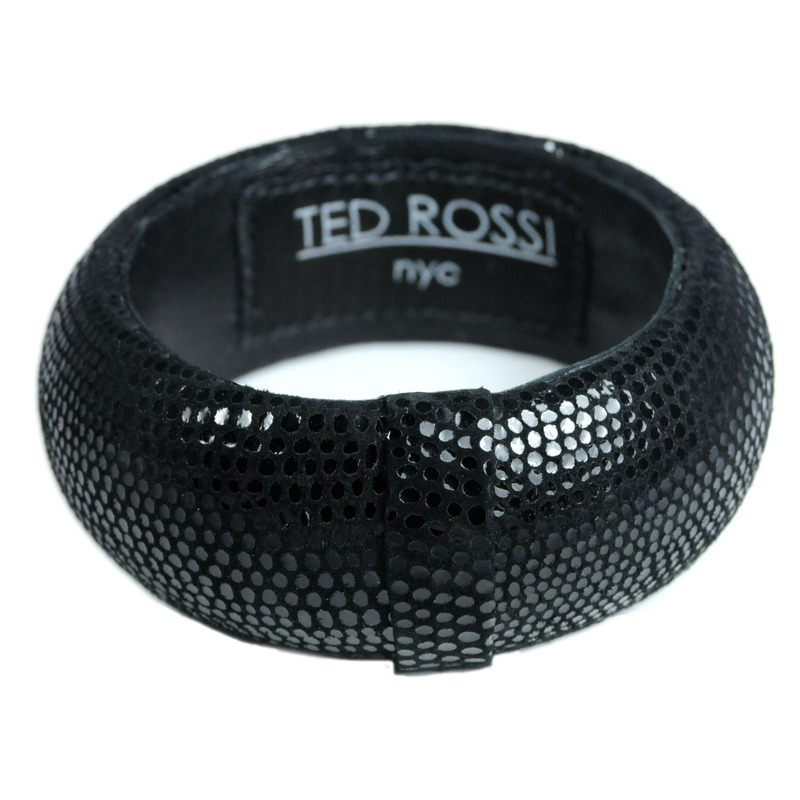 Ted Rossi Faux Lizard Medium Bangle in Black