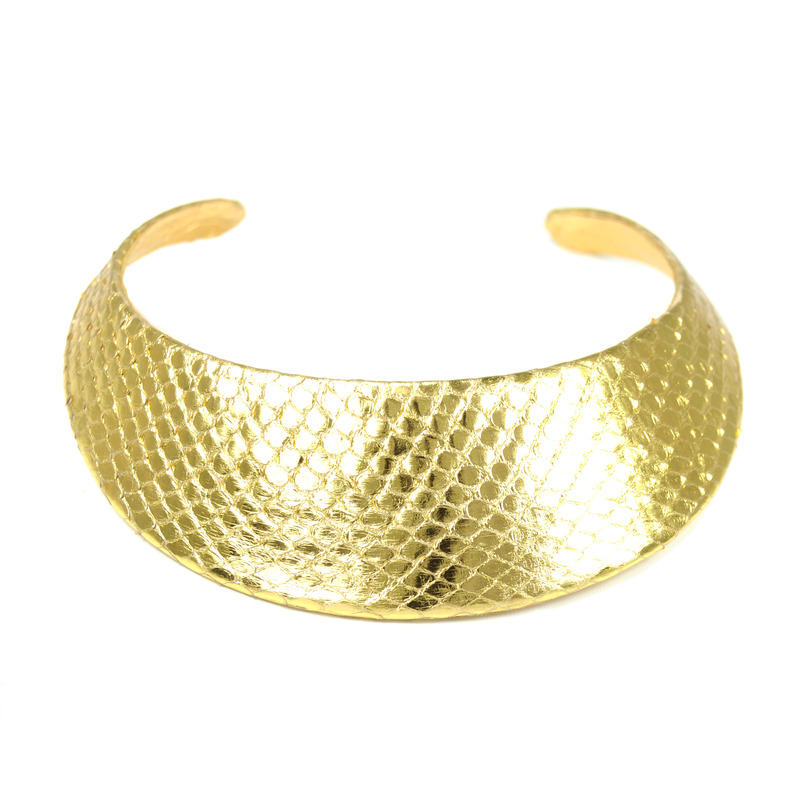 Ted Rossi Gold Python Collar Necklace