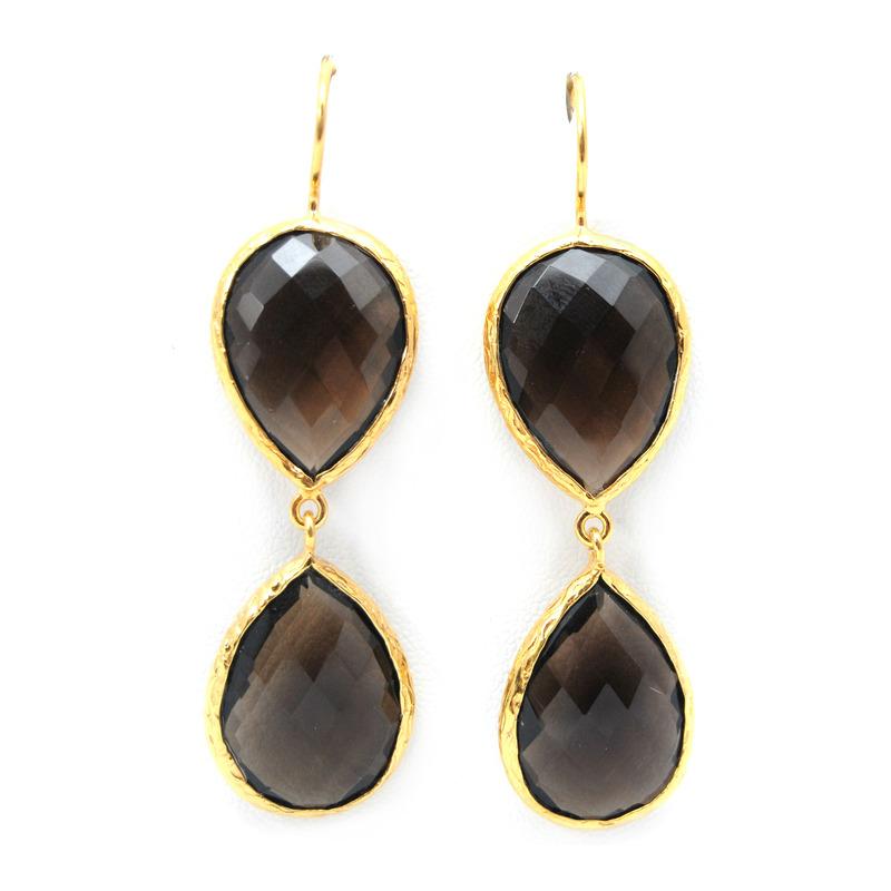 Urban Gem Double-Drop Semi-Precious Stone Earrings in Brown