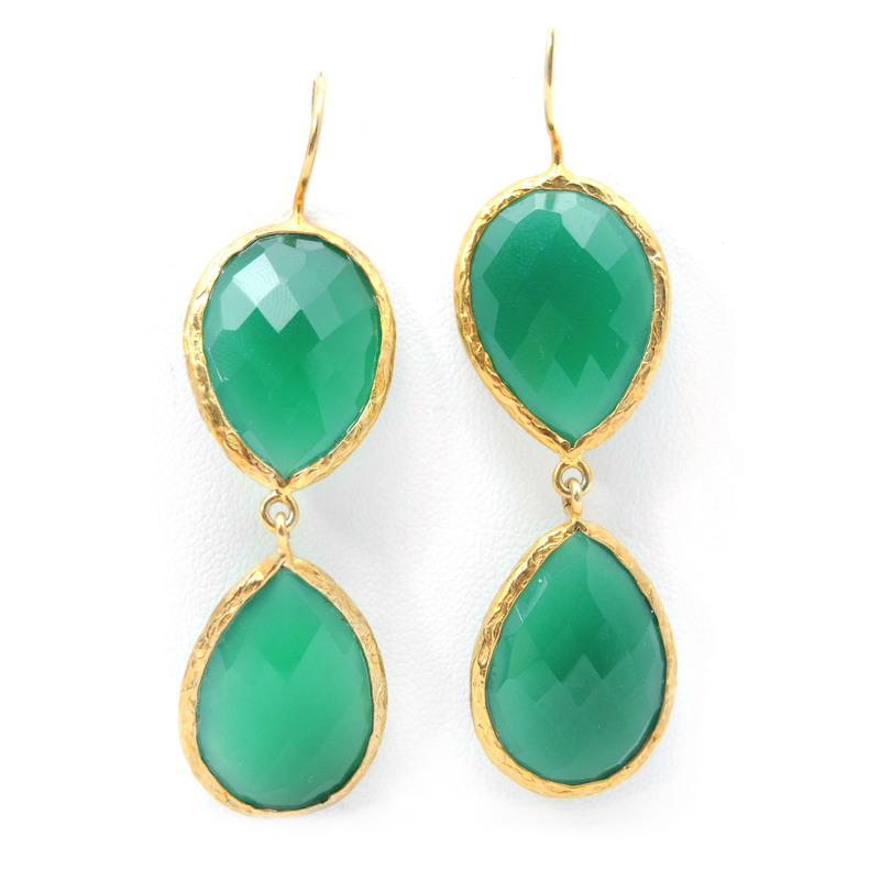 Urban Gem Double-Drop Semi-Precious Stone Earrings in Green